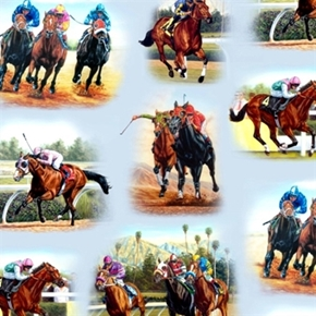 Picture of Horse Breeds Race Thoroughbred Horses Track Racing Cotton Fabric