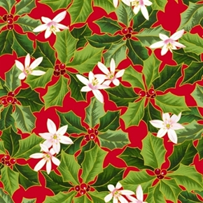 Picture of The Christmas Star Holly and Flower on Red Cotton Fabric