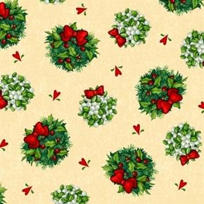 Kissmas Eve Christmas Holiday Mistletoe Toss On Cream Cotton Fabric