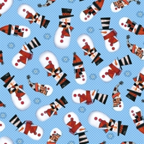 Snow Daze Light Blue Snowmen Snowman Toss Polka Dot Cotton Fabric