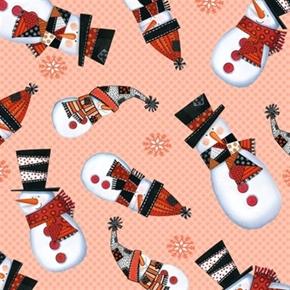 Picture of Snow Daze Light Coral Snowmen Snowman Toss Polka Dot Cotton Fabric