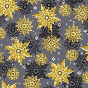 Celebrate The Season Black And Gold Snowflakes On Grey Cotton Fabric