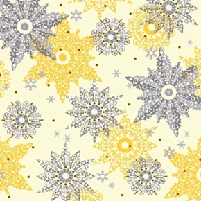 Celebrate The Season Silver And Gold Snowflakes Cream Cotton Fabric