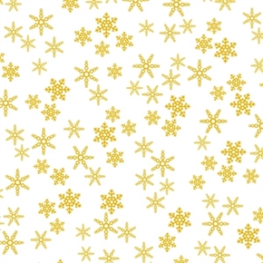 Picture of Rudolph the Red Nosed Reindeer Gold Snowflakes on White Cotton Fabric