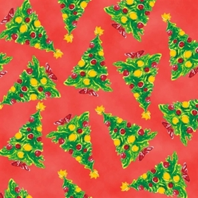 The Elf On The Shelf Christmas Trees On Red Cotton Fabric
