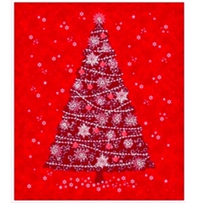 Picture of Celebrate the Season Red Christmas Tree Large Cotton Fabric Panel