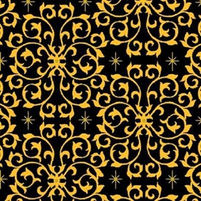 Celebrate The Season Black Scroll Metallic Gold Stars Cotton Fabric