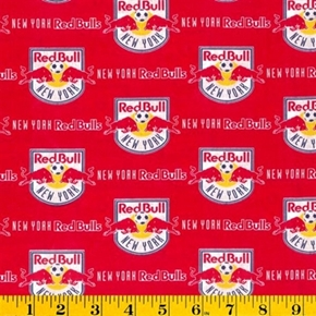 Mls Soccer New York Red Bulls Team 18X29 Cotton Fabric