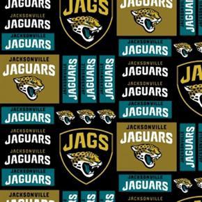 NFL Football Jacksonville Jaguars Squares 18x29 Cotton Fabric