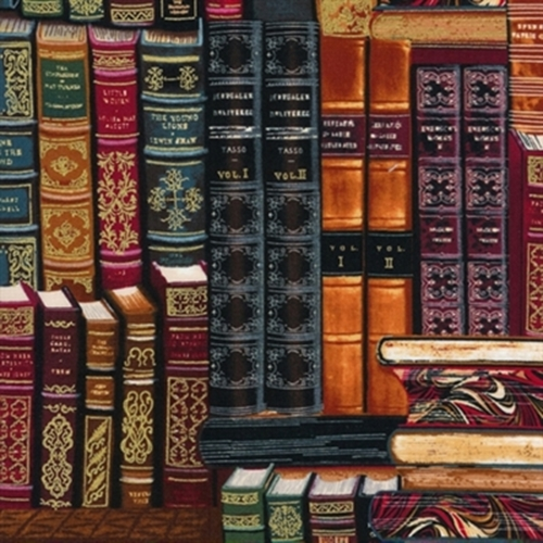 Library Stacked Vintage Books Gold Metallic Thread Cotton Fabric