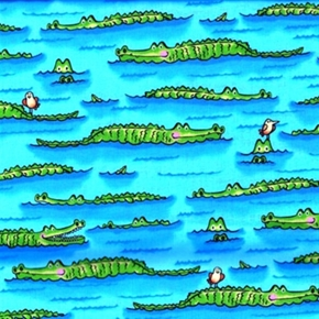 Picture of Down Under Cute Crocodiles Floating in the Water Cotton Fabric