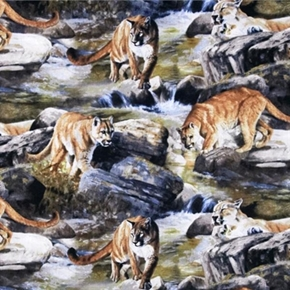Wild Wings Boulder Creek Cougar Mountain Lion Puma Cotton Fabric