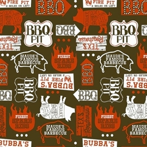 Ribs Bibs Open Pit Barbeque Restaurant Signs Brown Cotton Fabric