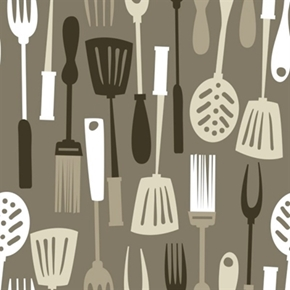 Picture of Ribs & Bibs Grill Master Grilling Utensils Grey Cotton Fabric