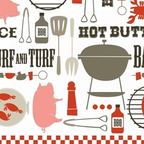 Picture of Ribs & Bibs Dinner for Two BBQ Food Grill Tools 24x22 Cotton Fabric