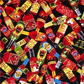 Picture of Some Like it Hot Bottles of Hot Sauce Fire it Up Black Cotton Fabric