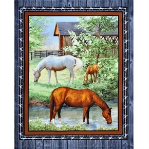 Wild Wings Sweetwater Bridge Horses Grazing Large Cotton Fabric Panel