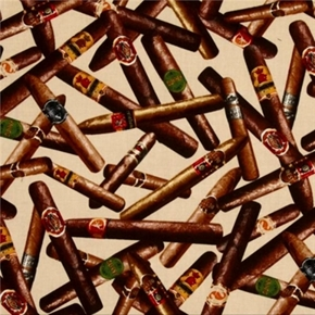 Man Cave Cigar Toss Cigars On Cream Cotton Fabric