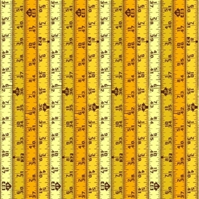 Hammer Nails Tape Measure Rulers Measurements Yellow Cotton Fabric