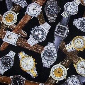 Picture of Man Cave Designer Watches Wrist Watch Collection Black Cotton Fabric