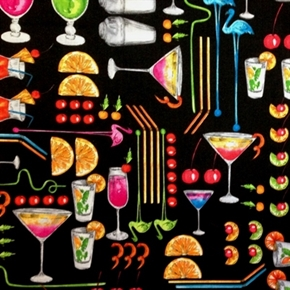 Picture of Happy Hour II Cocktails Shakers Garnishes Swizzle Stick Cotton Fabric