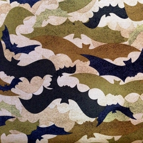 Picture of Spooktacular Halloween Bats Army Camouflage 18x29 Cotton Fabric