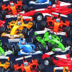Picture of Race Cars Go Carts Car Racing Track Cotton Fabric