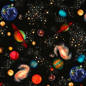 Solar System Planets And Stars In The Galaxy Cotton Fabric