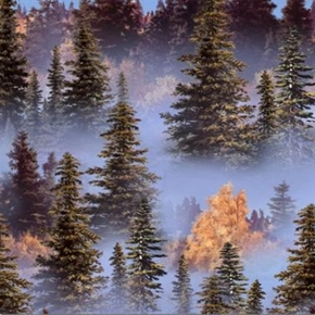 Landscape Medley Forest Trees With Blue Morning Mist Cotton Fabric