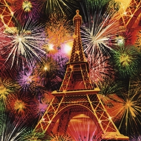 Paris Fireworks At The Eiffel Tower Cotton Fabric