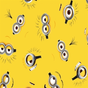 Despicable Me Minion Eyes And Mouths On Yellow Cotton Fabric