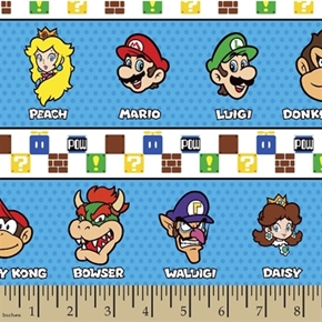 Nintendo Mario Brothers Video Game Character Stripe 17X22 Cotton Fabric