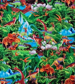 Dinosaurs In The Jungle 24X22 Cotton Fabric