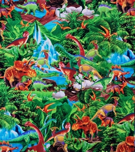 Cotton fabric childrens fabric dinosaurs in the jungle for Childrens jungle fabric