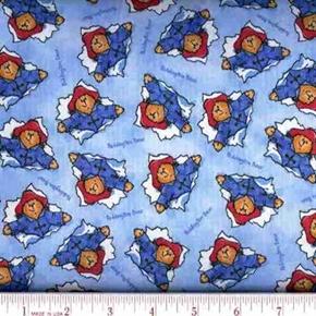 Picture of Paddington Bear Raincoat Rain Hat Blue Cotton Fabric
