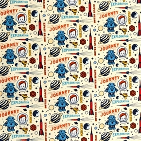 Picture of Rocket Age Amazing Journey Exploration Robot Spaceship Cotton Fabric