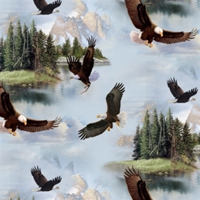 North American Wildlife Bald Eagles In The Mountains Cotton Fabric