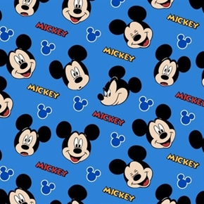 Disney Mickey Mouse Everyday Expressions Faces On Blue Cotton Fabric