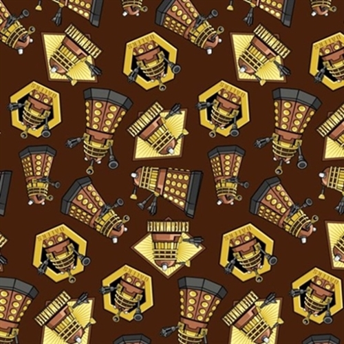 Doctor Who Exterminate Daleks Extraterrestrial Brown Cotton Fabric