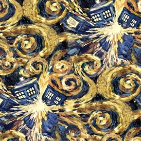 Doctor Who Tv Series Exploding Tardis Phone Booth Cotton Fabric