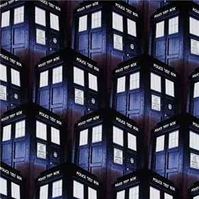 Doctor Who Packed Tardis Phone Booth Time Machine Cotton Fabric