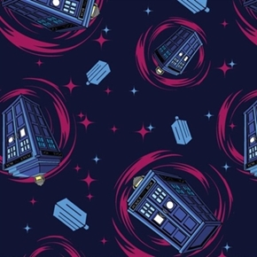 Doctor Who Tv Series Phone Booth Tardis Swirling Blue Cotton Fabric