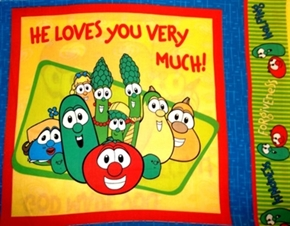 Veggie Tales 2006 He Loves You Very Much Cotton Fabric Pillow Panel