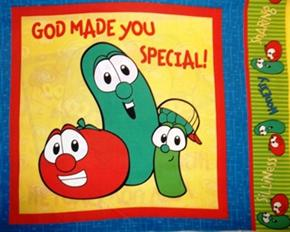 Veggie Tales 2006 God Made You Special Cotton Fabric Pillow Panel