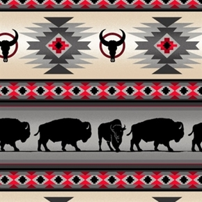 Tucson Southwest Aztec Buffalo Red Grey Stripe Cotton Fabric