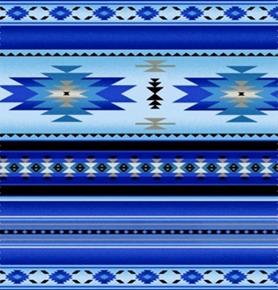 Tucson Southwest Aztec Native American Blue Stripe Cotton Fabric