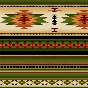 Tucson Southwest Aztec Native American Green Stripe Cotton Fabric