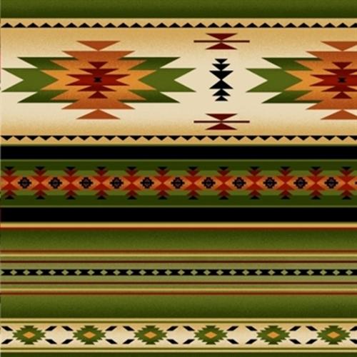 Tucson Southwest Aztec Native American Green Stripe Cotton Fabric