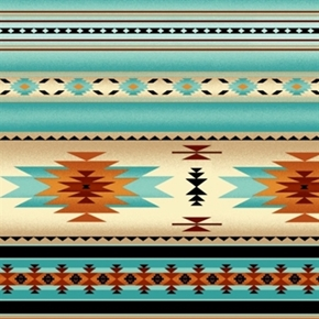 Tucson Southwest Native American Light Turquoise Stripe Cotton Fabric