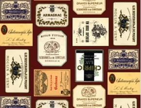 Picture of Italian Vineyards French Wine Labels on Burgundy Cotton Fabric